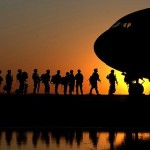 soldiers board plane to meditate